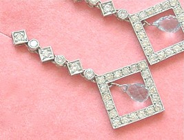 ART DECO 2.1ctw DIAMOND 1ct BRIOLETTE AQUAMARINE DROP DANGLE COCKTAIL EA... - $3,454.11