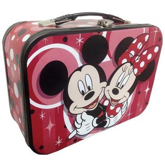 Walt Disney's Mickey and Minnie Hugging Carry All Tin Tote Lunchbox, NEW UNUSED image 1