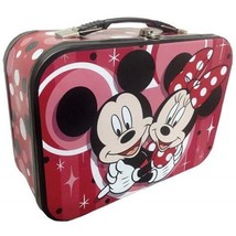 Walt Disney's Mickey and Minnie Hugging Carry All Tin Tote Lunchbox, NEW... - $20.08