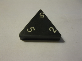 1985 Tri-ominoes Board Game Piece: Triangle # 2-5-5 - $1.00