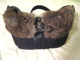 AUTH COACH Black Nylon & Rabbit Fur Satchel Shoulder Bag - Style 9443Tu... - $36.62
