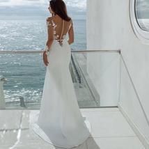 New Style Elegant Mermaid Appliques Sexy Illusion Long Sleeve Lace Satin Bridal  image 4
