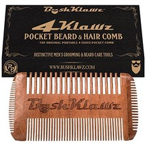 4Klawz Beard Comb - Pocket Comb for Men's Hair Beard Mustache and Sideburns with