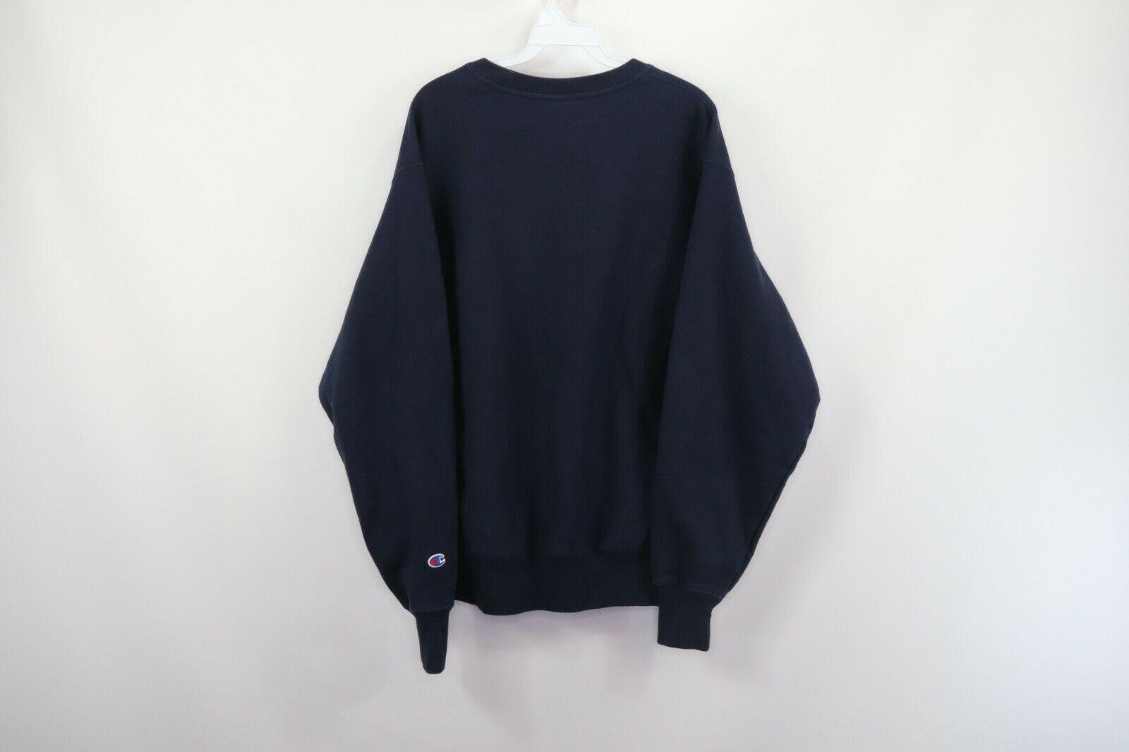 Champion Reverse Weave Mens Large Optimize Spell Out Crewneck Sweatshirt Blue image 7