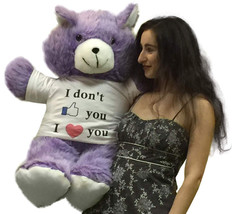 American Made Giant Purple Teddy Bear 36 Inches Wears I Dont Like You I ... - $97.20