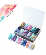 Silpecwee 10 Rolls Holographic Foil Nail Art Wraps Stickers Strips Set S... - $12.86