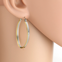 Polished Oval Tri-Color Silver, Gold & Rose Tone Hoop Earrings- United E... - $14.99