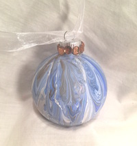 Blue Gold  Gold Marble  Painted Glass Christmas Ornament Gold Rhinestone... - $9.99