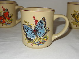 Vintage Set Lot 4 Viking Handcrafted Korea Coffee Mugs Butterfly Nature ... - $19.99