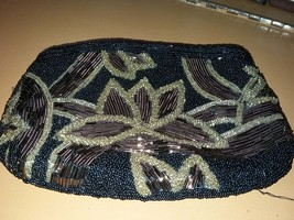 Black Small Beaded Clutch w Tan & Gold Floral Pattern Made in Macau - $58.00