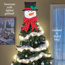 Lighted Snowman Christmas Tree Topper with Bow and Timer - Adorable Fros... - $15.36