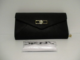 DKNY Women shoulder bag handbag envelope saffiano leather black color - $118.75