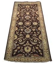 Chobi Peshawar Chocolate Antiqued Handmade 4' x 10' Brown Oushak Wool Rug image 1