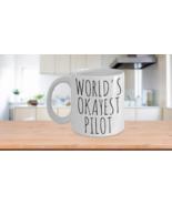 Worlds Okayest Pilot Mug Funny Most Okay Ok Aviator Navigator Flyer Airp... - $14.65+