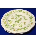 Petite Flora Sears Ironstone Japan 4009 LOT of 2 DINNER PLATES green lea... - $33.65