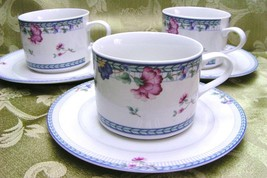 Blue Lattice Oneida China Lot 3 Cups + 3 Saucers Flower - $34.58