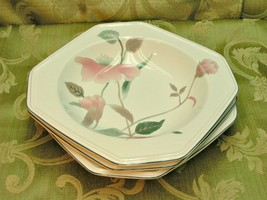 Silk Flowers by Mikasa LOT 3 RIMMED SOUP BOWLS octagonal pink flowers EU... - $34.58