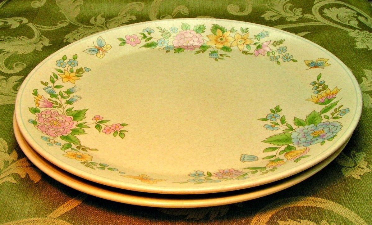 Sketchbook by Lenox China Temperware LOT 2 DINNER PLATES butterflies flowers G31