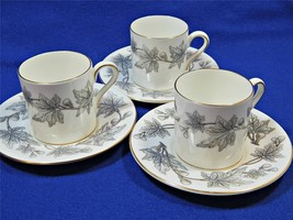 Ashford Grey by Wedgwood Bone China LOT of 3 DEMITASSE CUPS + SAUCERS W4... - $46.74