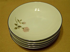 Helene by Sango China LOT of 5 COUPE SOUP CEREAL BOWLS pink roses vintag... - $46.74