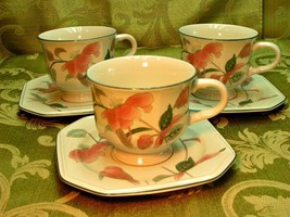 Silk Flowers by Mikasa LOT 3 CUPS + 3 SAUCERS octagonal pink flowers EUC G66 - $37.39