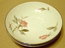 Nancy by Sango China LOT of 3 COUPE SOUP CEREAL BOWLS pink roses vintage... - $33.65