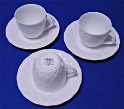 Palladio White by Mikasa Alessandro L9600 LOT of 3 CUPS + 3 SAUCERS quilted G56+ - $84.14