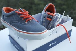 Sperry Top-siders Slider Navy Gray Orange Men's Boy's Sneakers Size 8 New NIB - $39.95