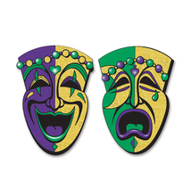 "Beistle Jumbo Glittered Comedy & Tragedy Faces 24.5"" (2 Count)- Pack of 12 - £55.46 GBP"