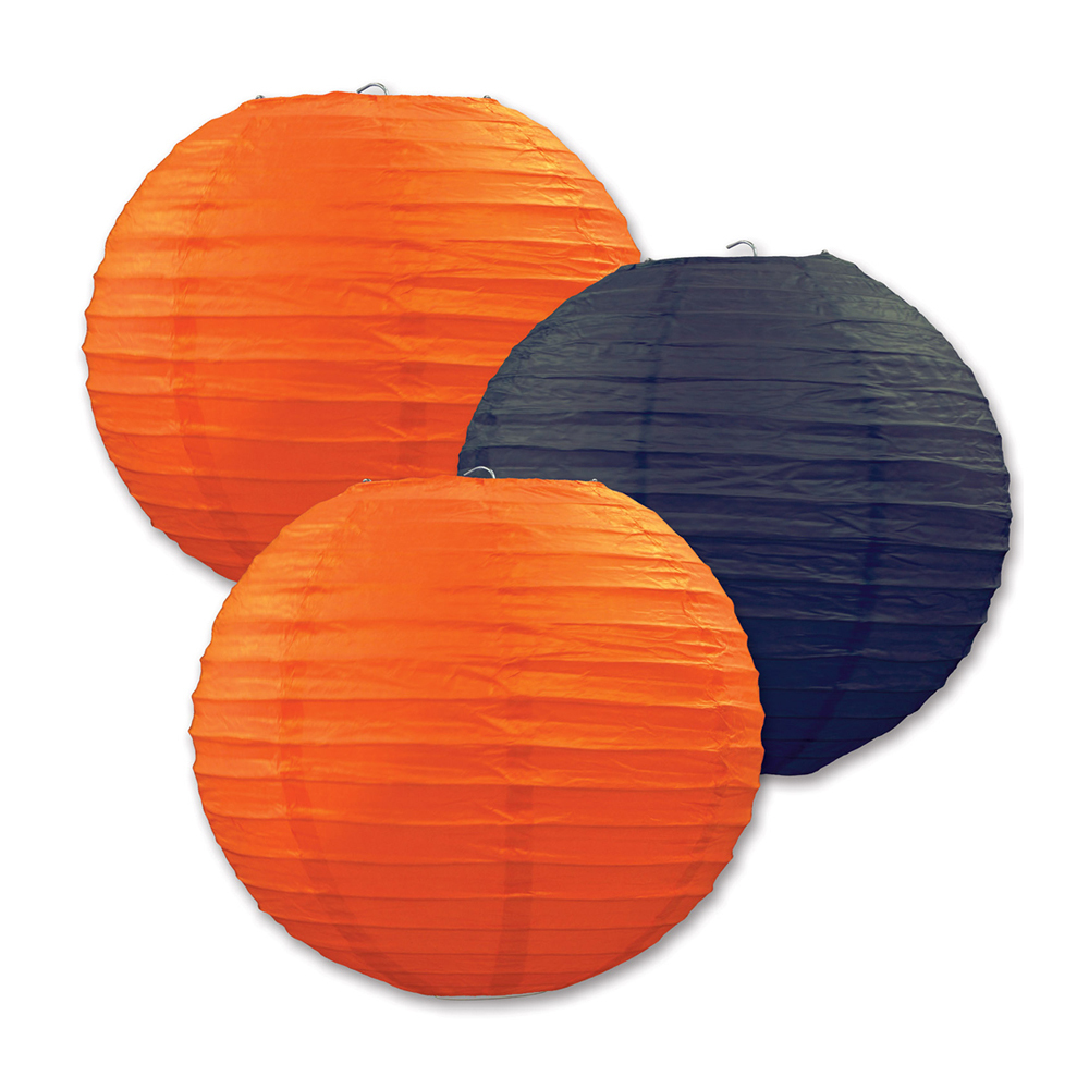 "Beistle Paper Lanterns Orange & Black 9.5"" (3 Count)- Pack of 6"