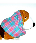 Dog Snood Turquoise Pink Yellow Plaid Flannel Basset Hound Size Puppy RE... - $10.50