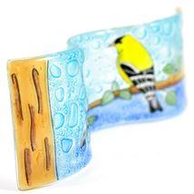 Fused Art Glass Goldfinch Yellow Finch Birds Wavy Decor Piece Handmade Ecuador image 5