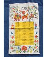 VINTAGE 1980 LINEN CALENDAR KITCHEN TOWEL HORSES FLOWERS COLORFUL - $14.80