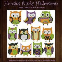 Hooties Funky Owls Halloween cross stitch chart Pinoy Stitch - $13.50