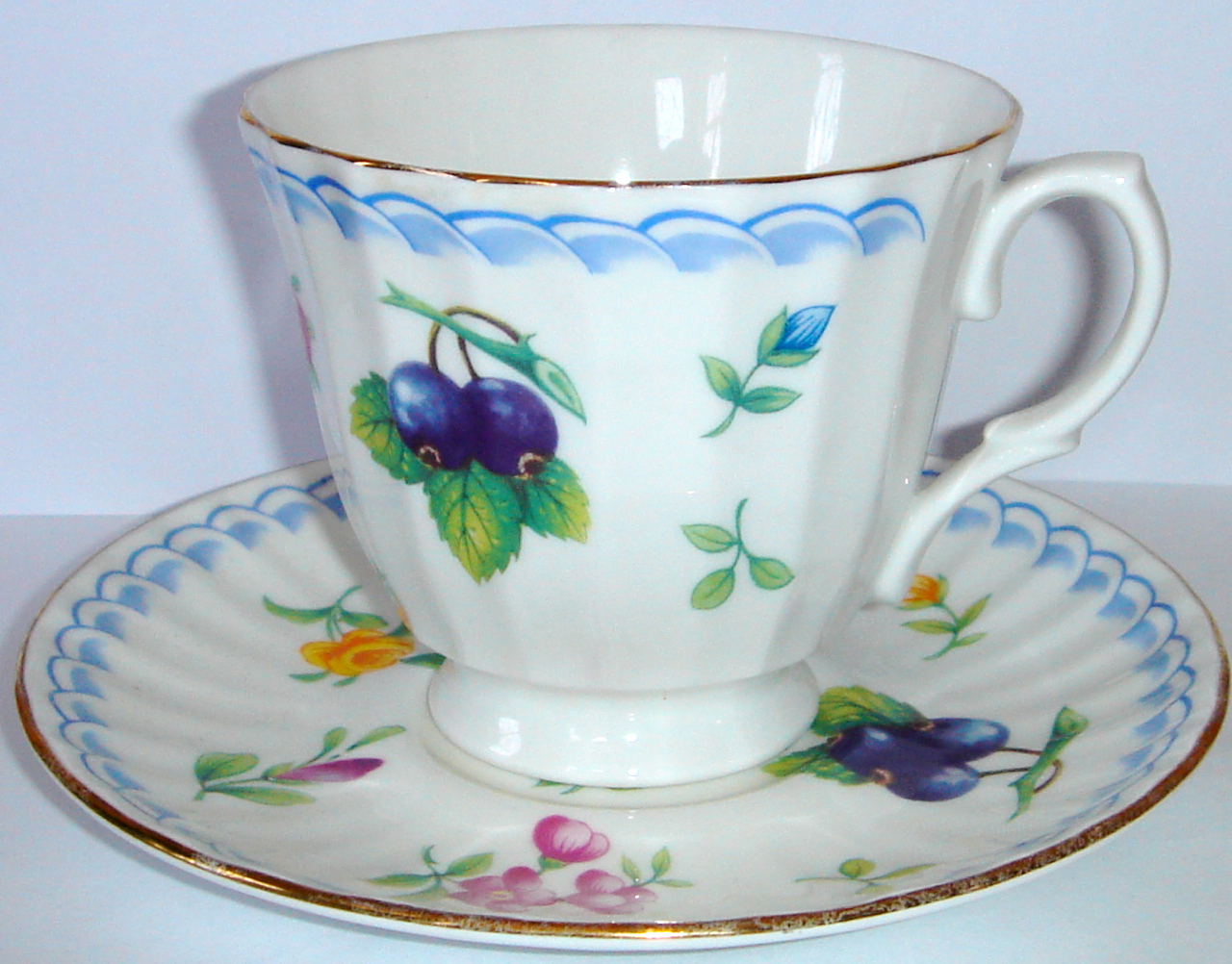Old Tea Cup & Saucer by Duchess ~ Flowers w/ Gold Trim