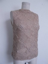Vtg 60s Baar & Beards Crochet Mohair Shell Sleeveless Top L Nude Chiffon... - $16.82