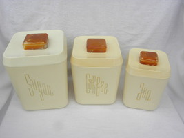 3 Vint. Mid-Century Modern Cream Colored Plastic Canisters, Sugar, Coffe... - $8.99