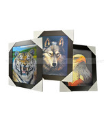 3 Dimension 3D Lenticular Picture Tiger Wolf Eagle Head Wildlife Animal ... - $19.79