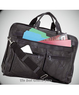 "16"" Black Leather Briefcase Portfolio Attache Business Bag Shoulder Carr... - $31.37"