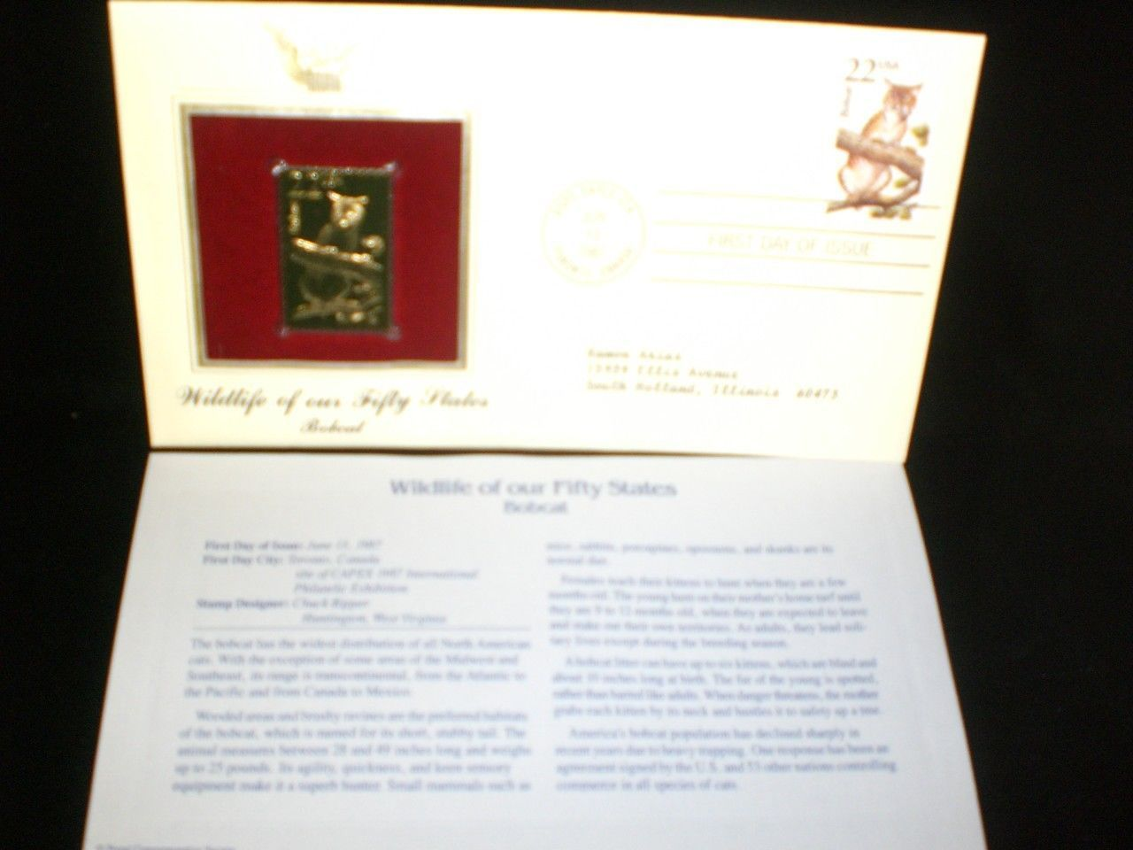 1987 Wildlife of Our Fifty States 22kt Gold plated replica Stamp Bobcat