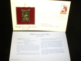 1987 Wildlife of Our Fifty States 22kt Gold Replica Stamp Deer Mouse - $8.00