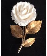 Vintage CR Co 12 K Gold Filled Cream Color Flower Rose Pin Brooch - $77.35