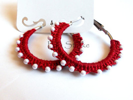 Boho Crocheted Hoop Earrings with pearl Beads b... - $12.50