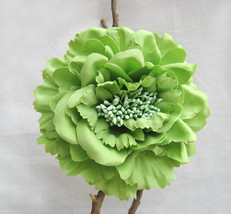 Green Large Peony Flower Hair Clip. Bohemian Summer Floral Brooch. Hair ... - $10.90