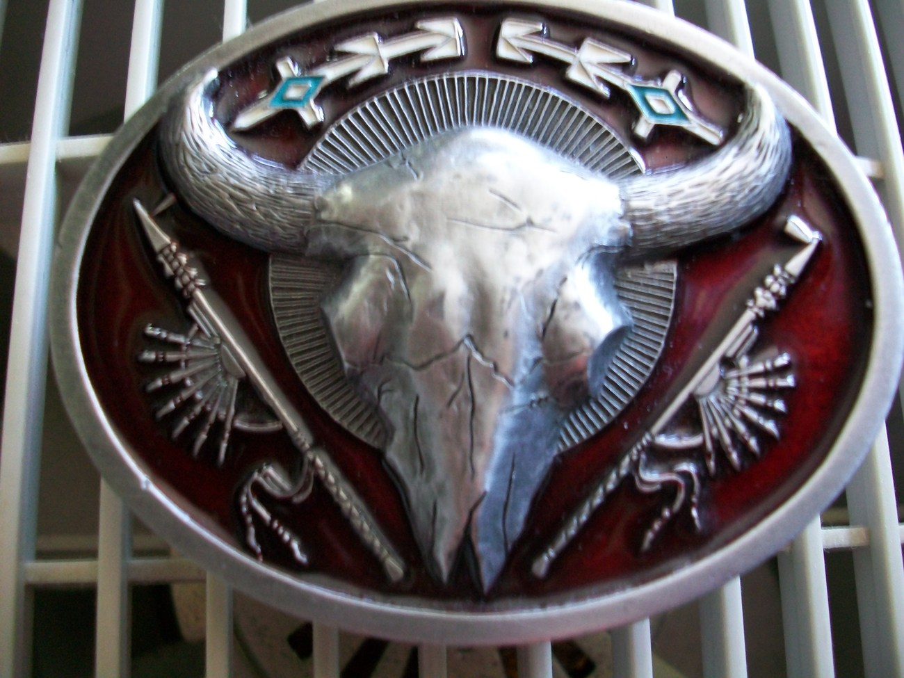 BELT BUCKLE ~C &J INC~1991 #C11080~BUFFALO HEAD~RED ENAMEL~TURQUOISE SIGNED