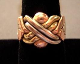 14k Gold Puzzle Ring 6 Band Tri Color Gold 10.2 gram SZ 8.5 Movable Vintage - $450.00