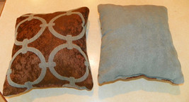 Pair of Light Blue Brown Print Throw Pillows  10 x 10 - $29.95