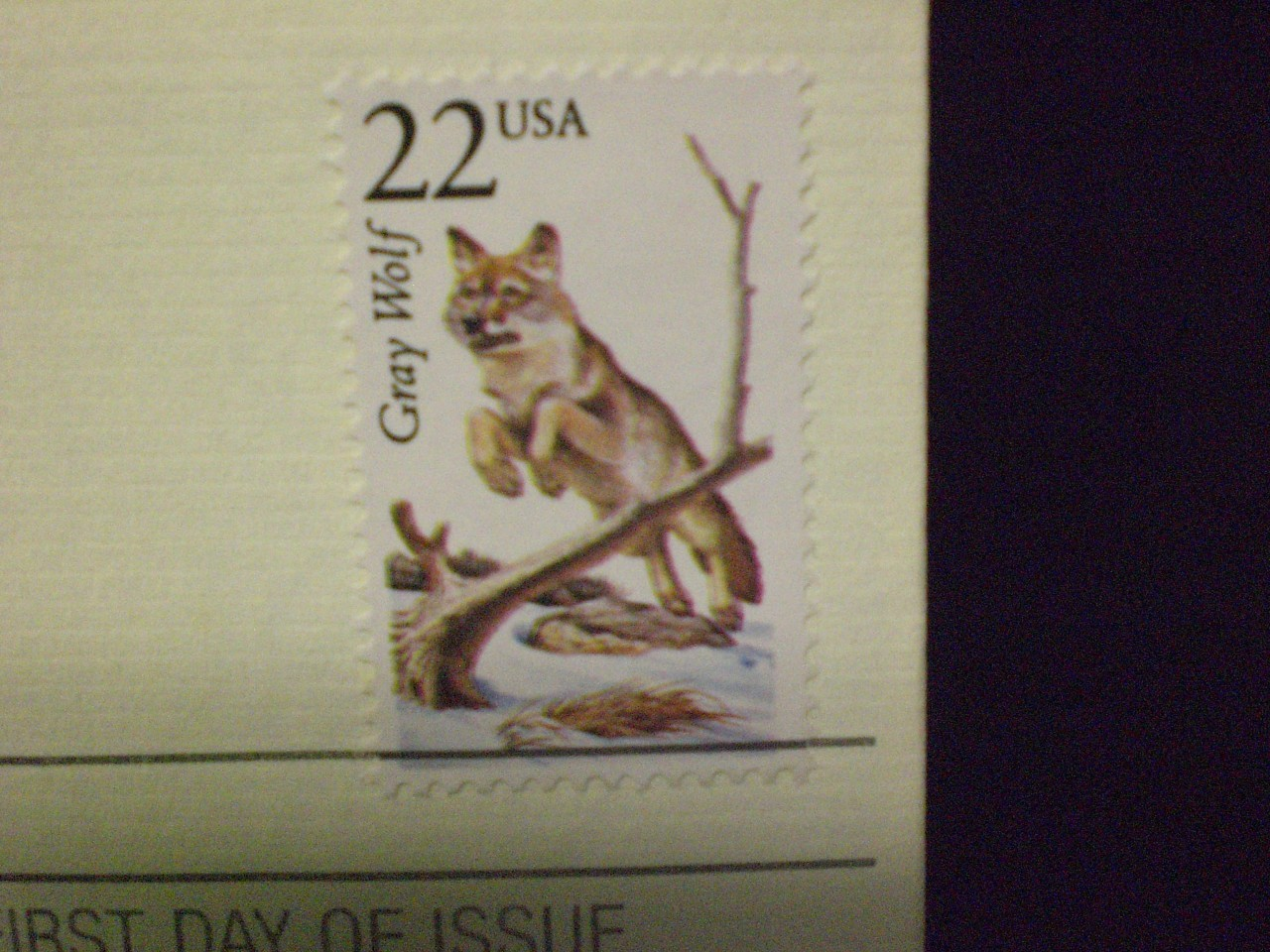 1987 Wildlife of Our Fifty States 22kt Gold Replica Stamp Gray Wolf