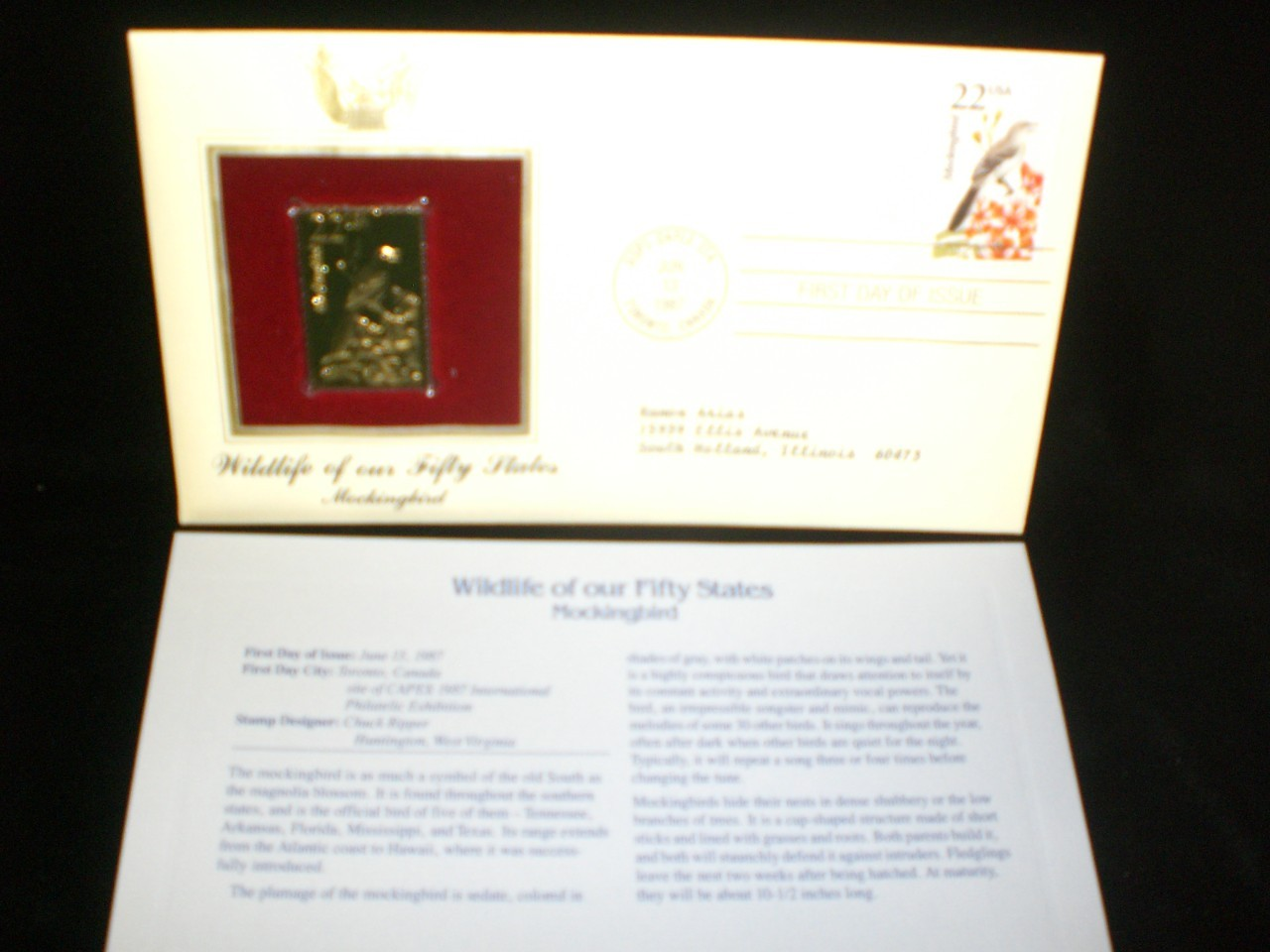 1987 Wildlife of Our Fifty States 22kt Gold plated replica Stamp Mockingbird