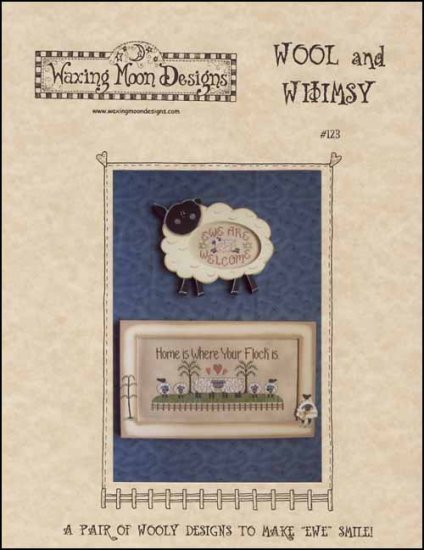 Wool and Whimsy sheep cross stitch chart Waxing Moon Designs